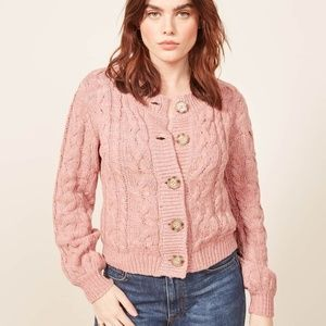 Reformation Annie Cable Knit Cardigan Pink Medium